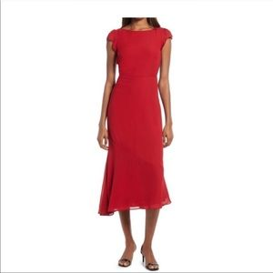 Reformation red open back midi dress size 10